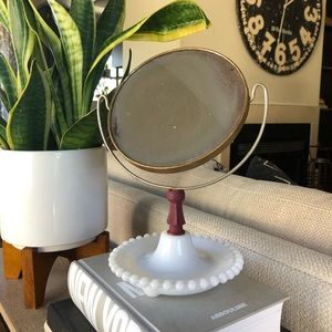 Vintage Vanity Mirror with Hobnail Milk Glass Base